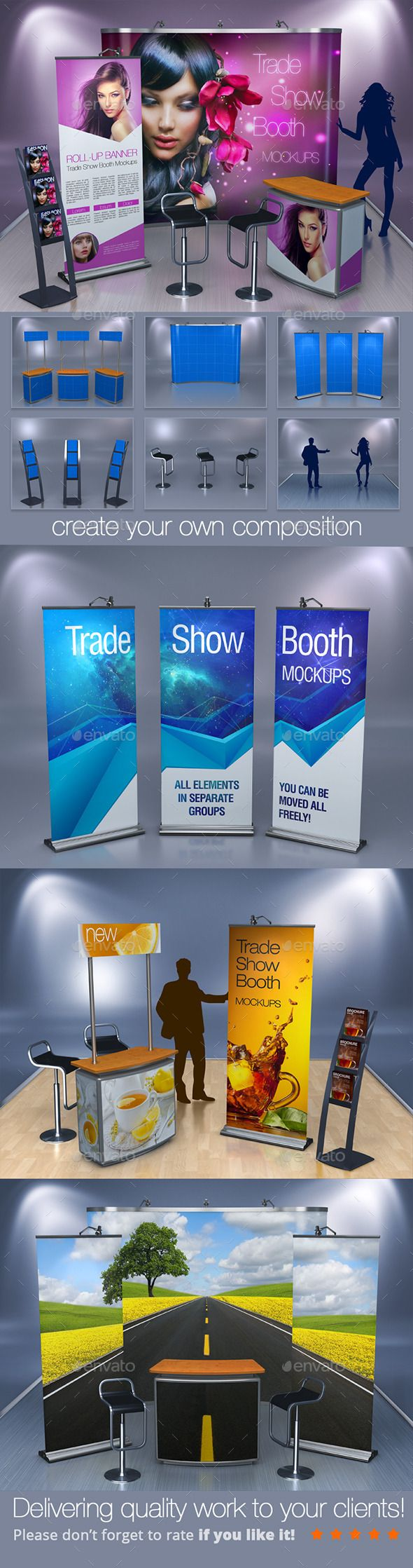 Trade Show Booth Mockups — Photoshop PSD #stool #brochure • Available here → https://graphicriver.net/item/trade-show-booth-mockups/12038663?ref=pxcr