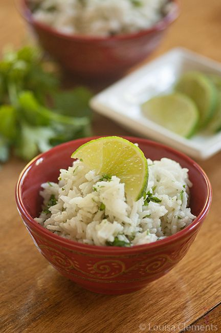 Cilantro Lime Rice 1 cup long grain rice, cooked according to package directions  3/4 cup fresh cilantro  1 tbsp olive oil  1 tbsp lime juice  1 clove garlic  1/2 tsp cumin  1/4 tsp salt