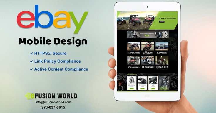eFusionWorld's creative #design service includes a mobile #responsive #eBay #designs that work perfectly on both #mobile browsers and eBay apps. Our #eBaydesigns are all Active Content Compliant, #Https #secure and worked perfectly on all devices as standard.
