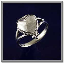 Heart Poison Ring - Sterling silver heart ring has a hidden surprise! Hinged top flips up to reveal a heart-shaped compartment below.