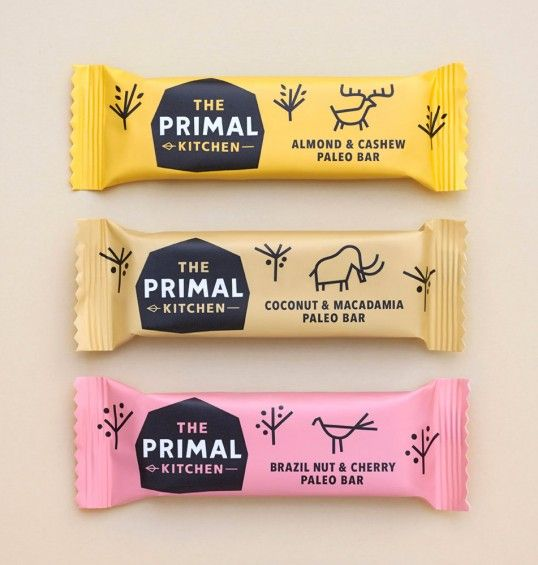 "Designed by Midday | Country: United Kingdom | ""Established 2 million years B.C. (Before Cereals), The Primal Kitchen are a new health food brand based upon the caveman diet. Launching with the UK's first Paleo bar they have Mammoth plans to change the face of healthy eating. Through design and copywriting this brand creation needed to communicate the Paleo nature of this new health product and bring the cave man diet into the modern world."""