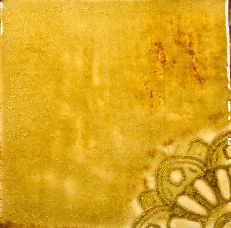 Handmade Ceramic Decorative Tile - Arabesque Corner in Ocher Glaze by DeKa Ceramic Tiles
