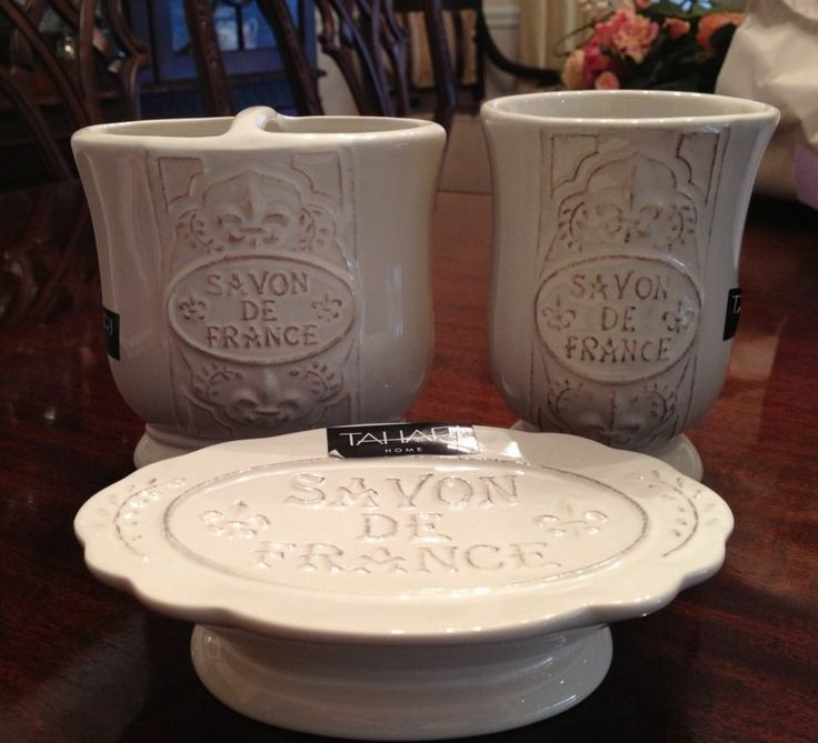 Tahari French Style Bathroom Set With Toothbrush Holder Tumbler And Soap Dish Home Garden Bath Accessory Sets Ebay
