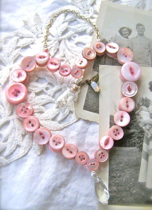 Button Heart Wreath - look closely there is a clear crystal hanging at the bottom