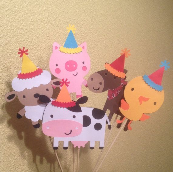 Set of 5 farm barnyard party animals centerpiece happy birthday on Etsy, $11.00