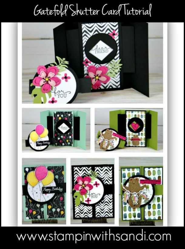 Gatefold Shutter Card Tutorial and video by Sandi @ www.stampinwithsandi.com
