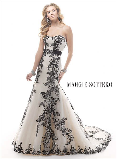 Palartzo Embroidered lace appliqués cascade down princess lines