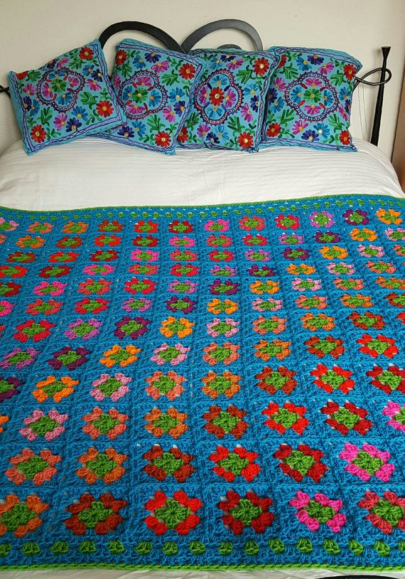 Azure Blue BLANKET Granny Squares  In Stock Afghan by Thesunroomuk