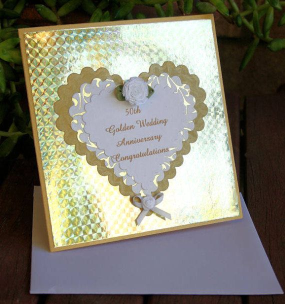 50th Golden Wedding Anniversary Harlequin by CardsbyCoralJean