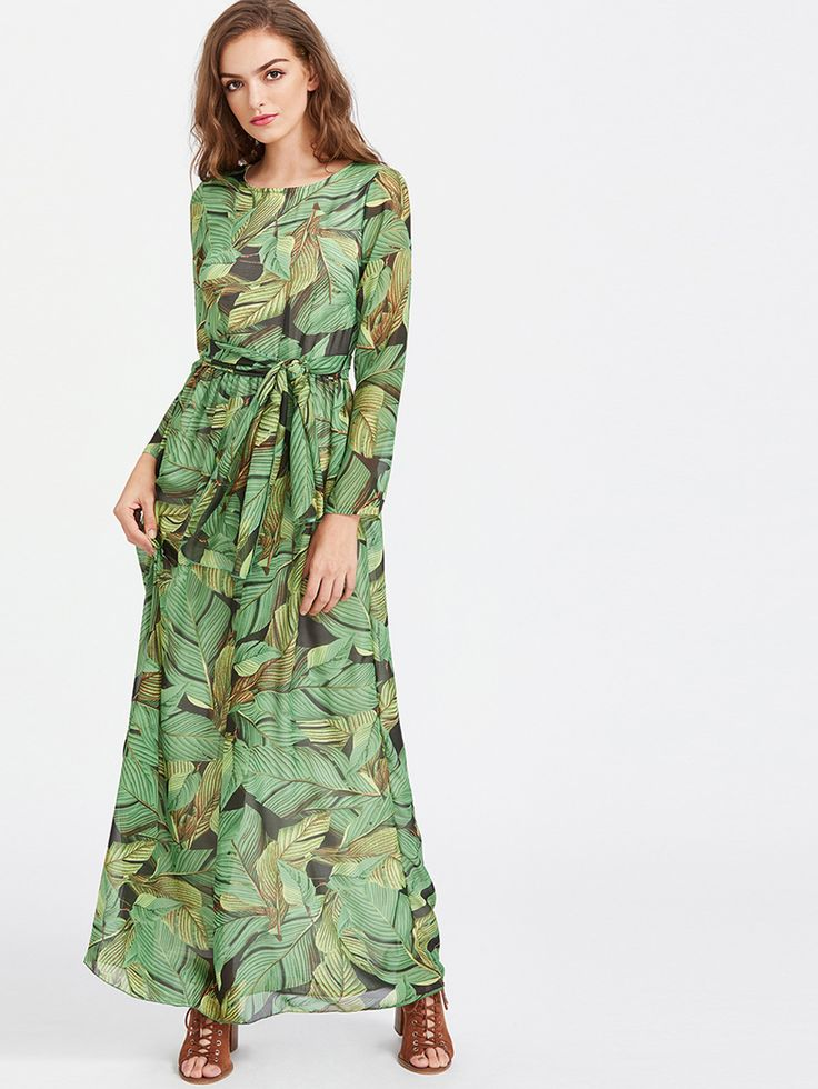 Green Palm Leaf Print Chiffon Maxi Dress