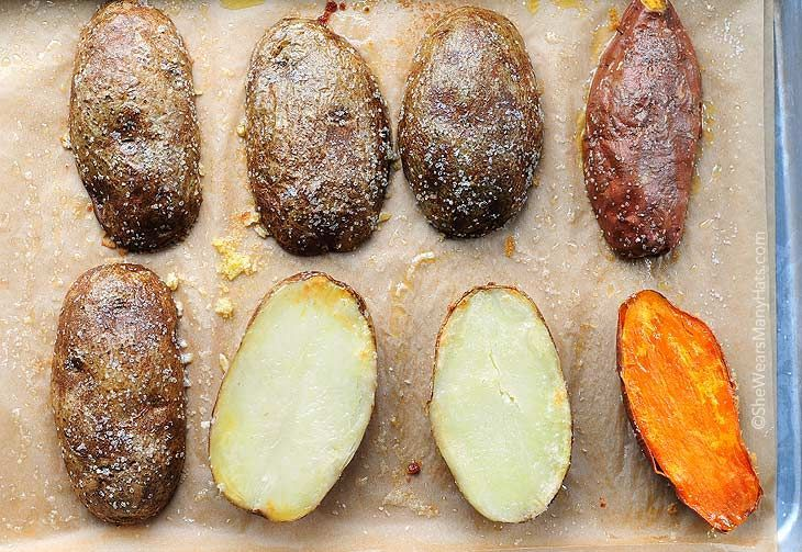 Baked Potatoes quick roasted cut the potatoes in half length wise. Then pour a little olive oil, and sprinkle a good amount of salt on a parchment lined baking sheet. Just use your hands to coat the potatoes with the oil and salt. Once they're coated on all sides, sprinkle a little more salt, bake at 400°F 30-40 minutes. Check with a fork for doneness When potatoes are baked this way they develop a super tasty skin