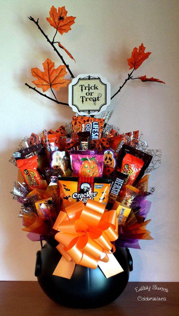 Candy Bouquet Halloween Candy Cauldron Basket
