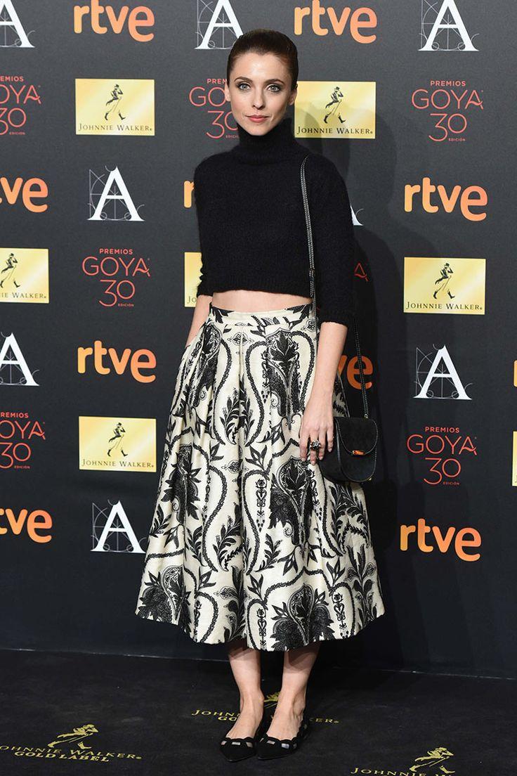 Cena de los nominados a los Premios Goya 2016. Leticia Dolera con un conjunto deAlicia Rueda y bailarinas deLodi