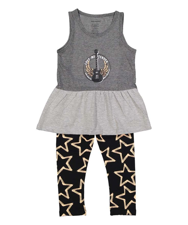 Love Me Tender, infant and toddler tank dress and leggings, grey pink - Silly…