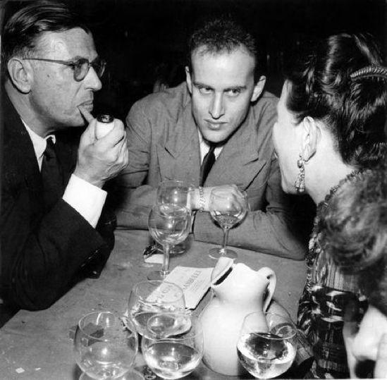 Georges Dudognon, Jean-Paul Sartre, Boris Vian and Simone de Beauvoir in the café Le Procope, 1949