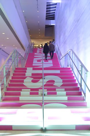 """Instead of a traditional red carpet, the stairs leading to the event space had a custom typography treatment that read """"Best New Chefs."""" Photo: Carolyn Curtis for BizBash"""