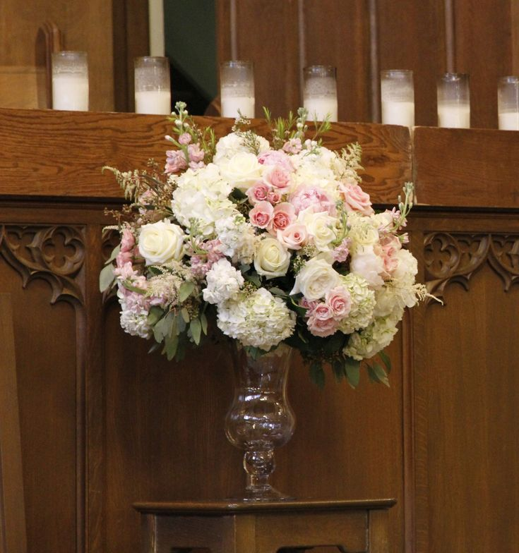 Large Wedding Altar Arrangements: Blush And Mint Green Wedding Flowers For A Wedding