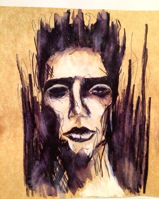 Experimental watercolor on brown paper- Ashleigh Hunter