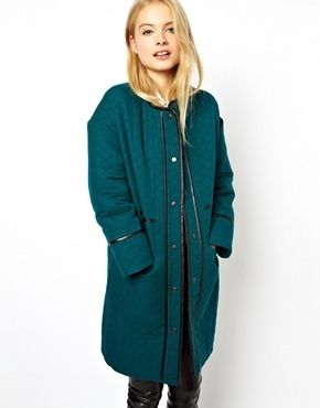€138, Abrigo Verde Azulado de Asos. De Asos. Detalles: https://lookastic.com/women/shop_items/85835/redirect