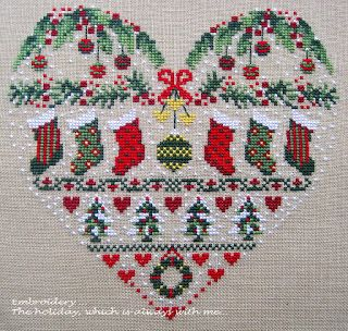 Christmas heart sampler.