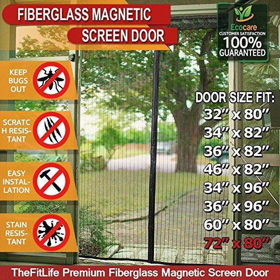Thefitlife Magnetic Screen Door Heavy Duty Mesh Curtain With Full Frame Velcro And Powerful Magnets That Snap Shut A Magnetic Screen Door Screen Door Magnets