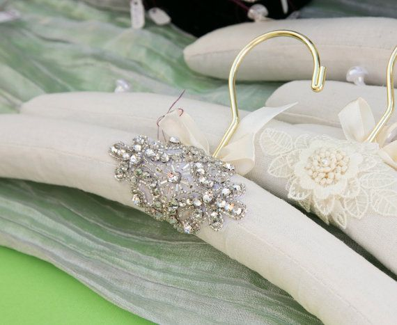 Wedding gown hanger embellished with sparkling rhinestones by One World Designs Bridal Accessories