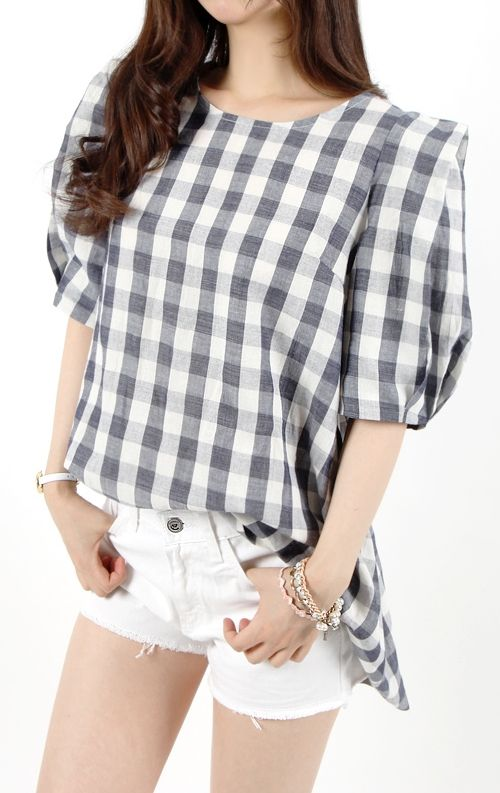 [Miamasvin] Checkered Blouse with Puff Sleeves
