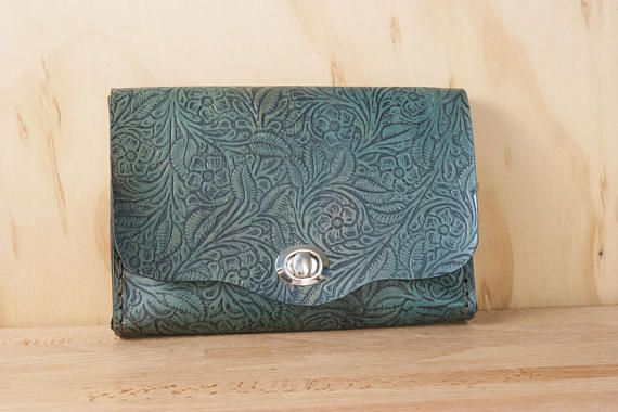 Leather Waist Purse - Small Tooled Leather Box Clutch in Open Seas - Use as Bum Bag - Clutch - Shoulder or Crossbody Bag
