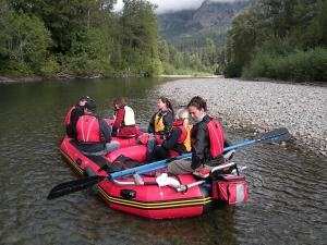 Drift silently on the Atnarko River in our river rafts to see the grizzly bears. Kynoch Adventures departs daily from Bella Coola Mountain Lodge.