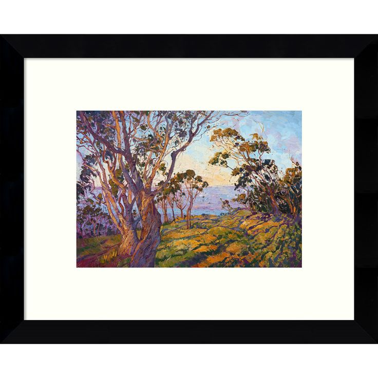 Artist Erin Hanson transforms the typical landscape into abstract mosaics of color and texture. Brighten your decor with the stunning hues of this modern interpretation of a coastal scene and eucalypt