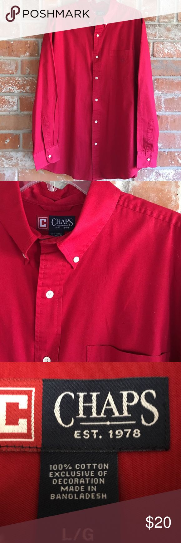 """Men's Red Dress Shirt By Chaps EUC This top is so nice and 100% cotton. My husband only wore it once and sent to cleaners. It measures 24"""" underarm to underarm and is 32"""" long. Great for the holidays!! ❤️❤️❤️ Chaps Shirts Dress Shirts"""