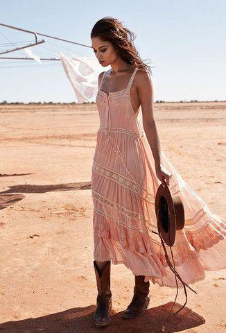 Prairie Lace Sun Dress - Blush