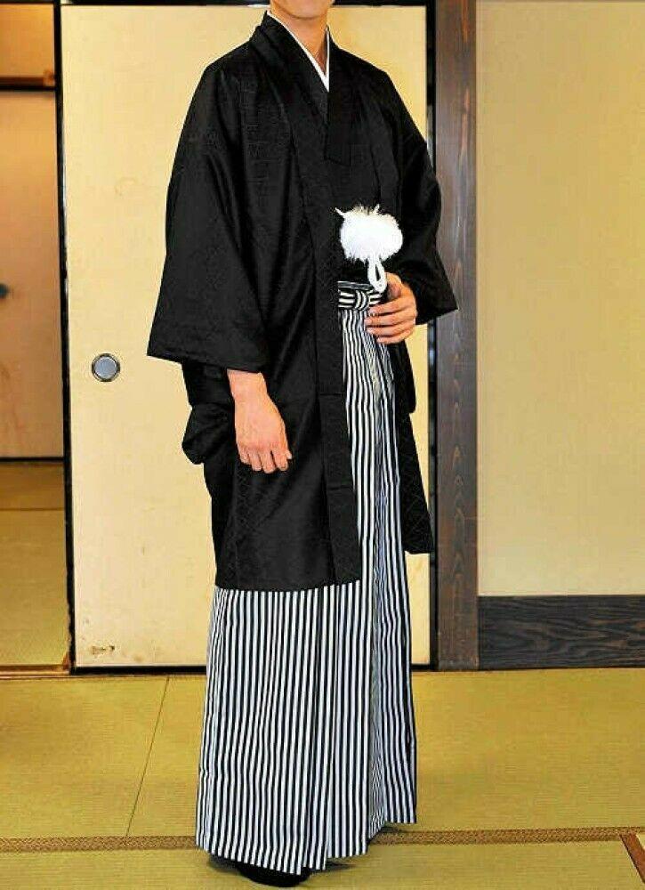 Les hommes japonais Traditionnel Kimono Haori veste manteau noir du Japon