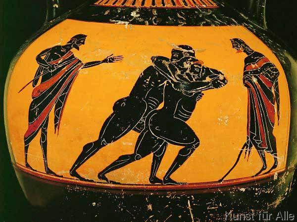 Griechische Vasenmalerei - Zwei Ringkämpfer / griech.Vasenmalerei