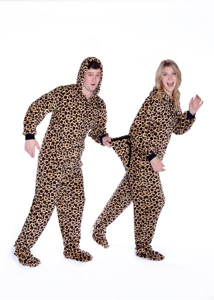 Plush Adult Footed Pajamas with Hood in Leopard Print