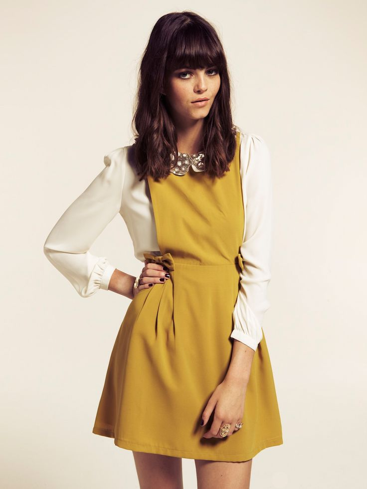 Dahlia Mustard Pinafore Dress with Bow Detail