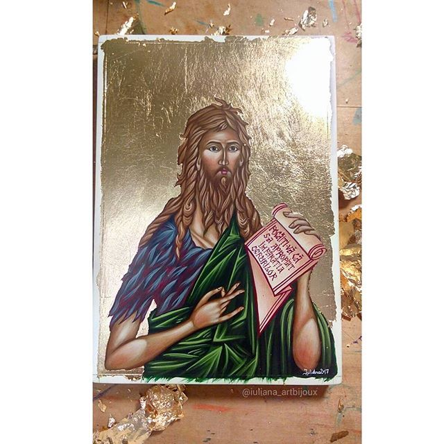 After the first layer of gilding  #stjoan #saintjoan #stjohn #saintjohn #icon #christian #orthodox #iconography #handpainted #art #orthodoxy #christianity #religious #painting #orthodoxicon #saint #artistry #Byzantine #byzantineicon