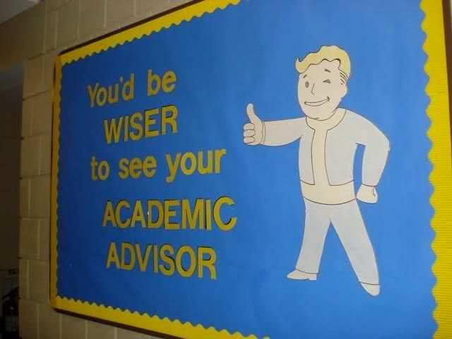 Fallout/Vault Boy Bulletin Board, I created as a College Academic Advisor - Imgur