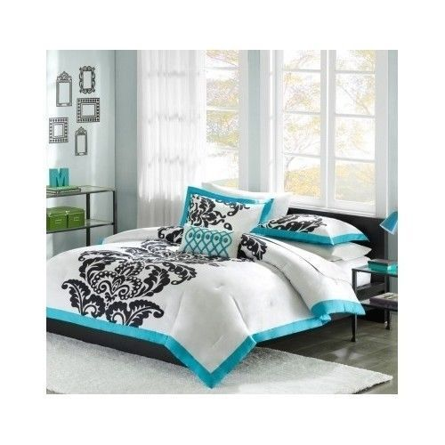 Modern Comforter Set Queen Teal Black White Bedding Girls Bedspread Bed Cover #Modern
