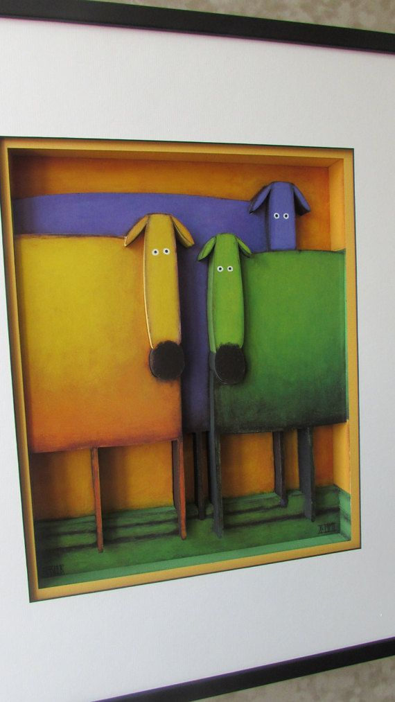 #Celebrating #Diversity II 3D by #DanielKessler #3D #Art by #CiracoFramers on #Etsy #Bright #Colourful #Dogs #Framed #colorful #pets