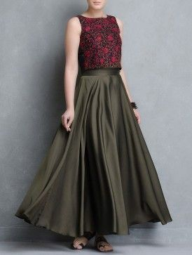 Black-Red Thread Embroidered Silk Crop Top