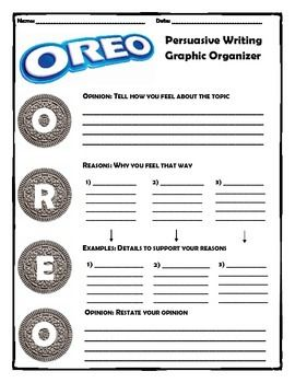 oreo graphic organizer | Persuasive Writing (OREO Method) Upper Elementary                                                                                                                                                                                 More