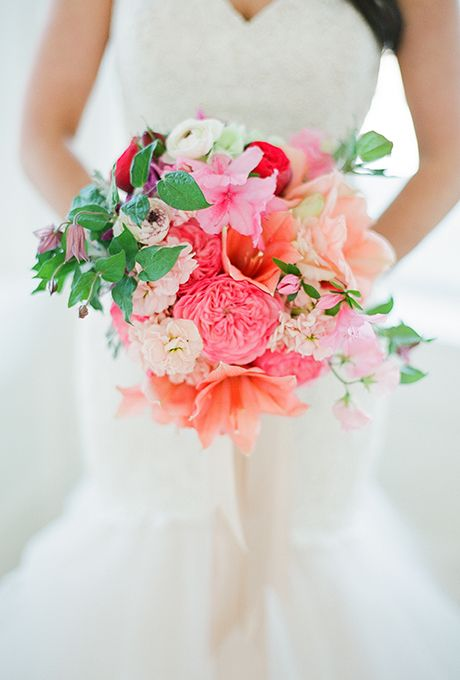 Garden Roses, Amaryllises, Azaleas, Camellias, Stock, Clematises, Ranunculuses, and Sweet Peas, #WeddingFlowers #WeddingBouquet
