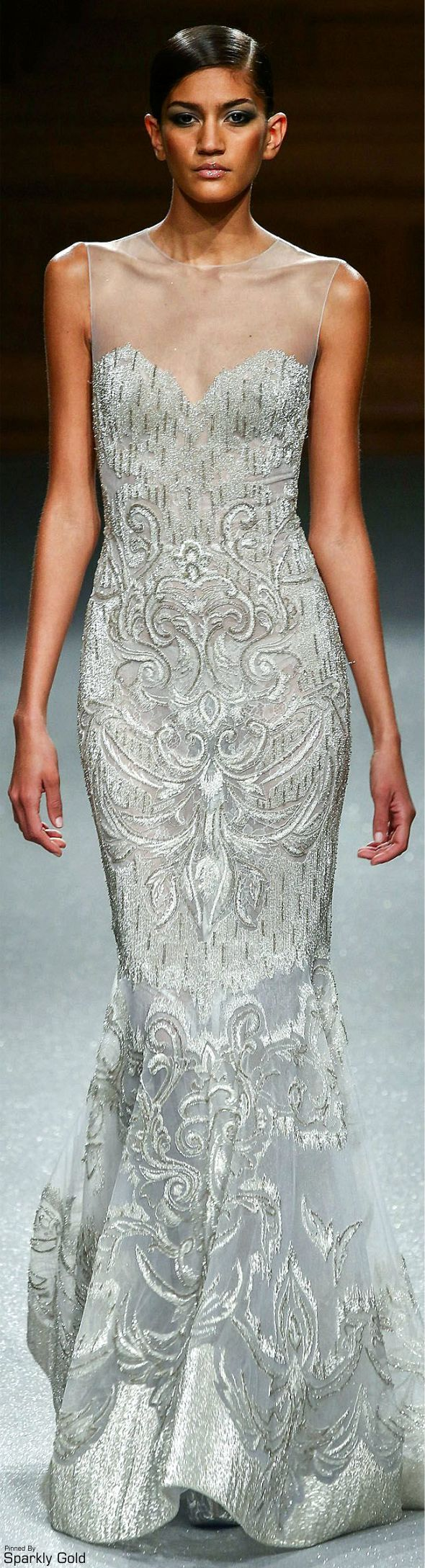 Tony Ward ~ Spring Silk Fitted Gown, Silver 2015