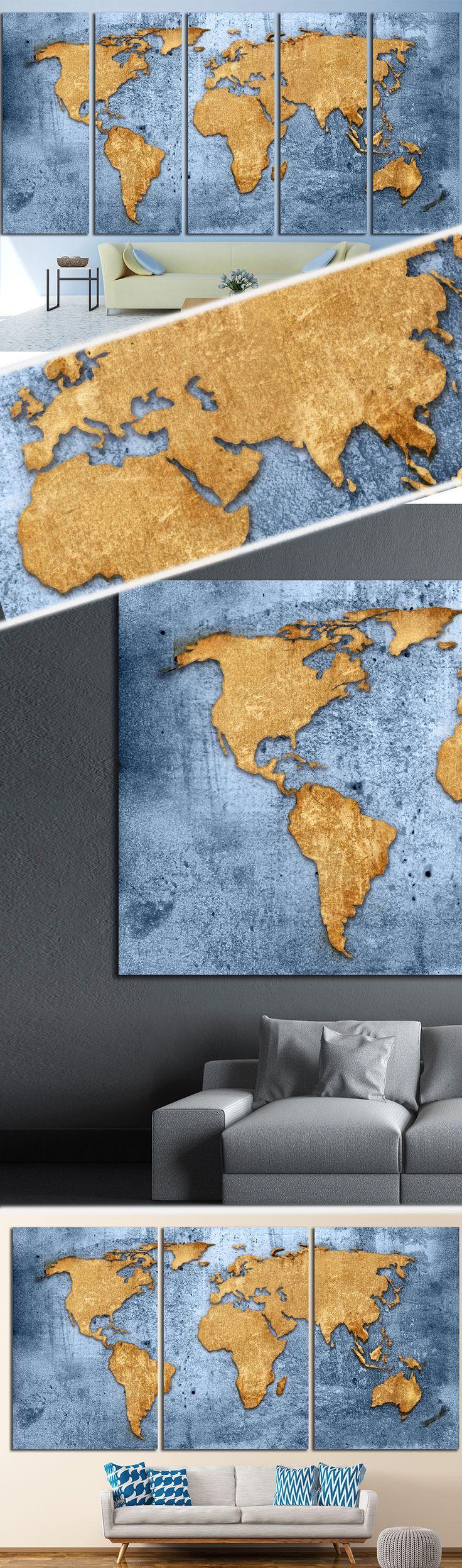 Blue World Map 1489 Canvas Print 170