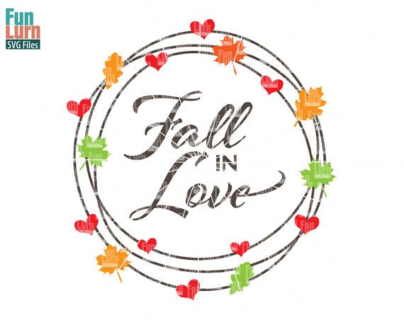 Fall in Love SVG Fall SVG maple leaves hearts Autumn by FunLurnSVG