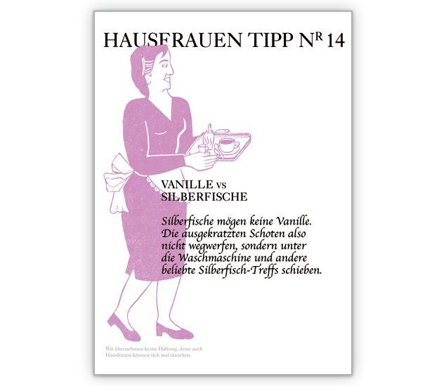 Clevere Hausfrauen Tipp Nr 14 Karte: Vanille vs. Silberfische - http://www.1agrusskarten.de/shop/clevere-hausfrauen-tipp-nr-14-karte-vanille-vs-silberfische/    00017_0_1123, Bad, Beratung, Grußkarte, Klappkarte, Party Einladungen, Ratgeber Karten, Ratschlag, Ungeziefer00017_0_1123, Bad, Beratung, Grußkarte, Klappkarte, Party Einladungen, Ratgeber Karten, Ratschlag, Ungeziefer