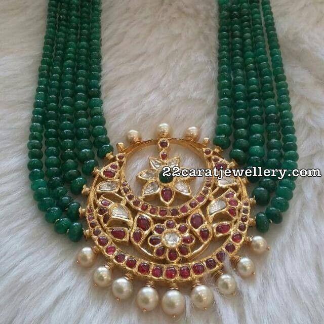 Emerald Beads Necklace Large Pachi Jhumkas - Jewellery Designs
