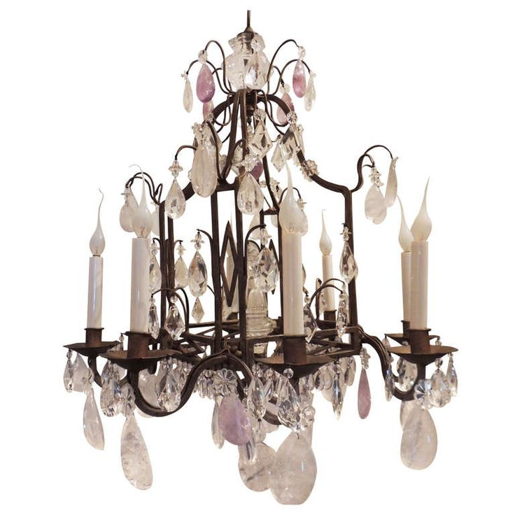 An Unusual Bagues Square Eight Light Gilt Iron Cut Crystal Amethyst Rock Chandelier