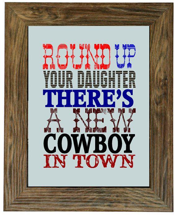 little cowboy art print, western wall decor, kids room art, nursery room decor, baby boy shower gift